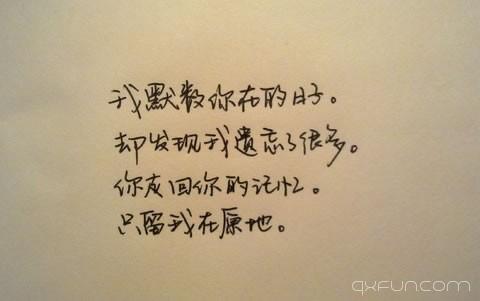 我默数你在的日子。却发现我遗忘了很多。你走回你的记忆。只留我在原地。
