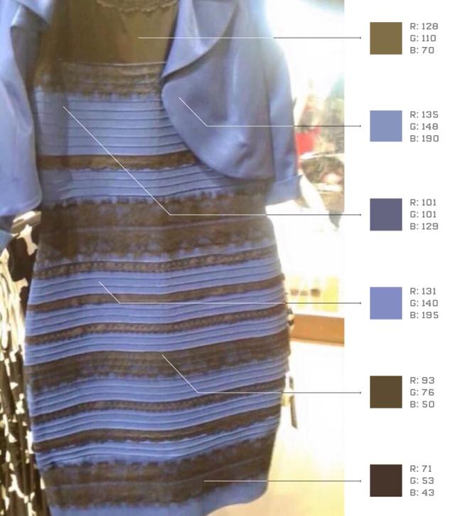 一条裙子引发的争论:到底是白金还是蓝黑?