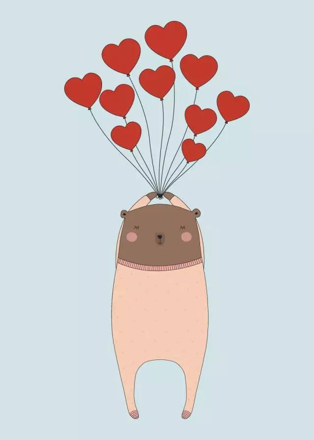 一组充满爱意的温馨插画:看着你,我就像陷入恋爱的熊