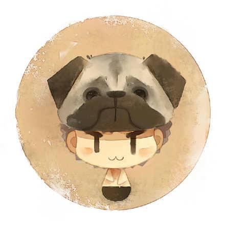一组水彩清新单身狗圆形卡通头像